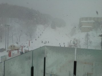 View from the balcony at The Vale during heavy snow