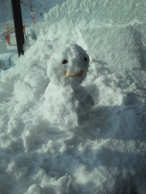 The snowman I made from the snow on my bedroom balcony - Niseko