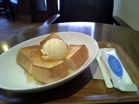 Honey toast with ice cream - look at the size of that bread! - Kinosaki