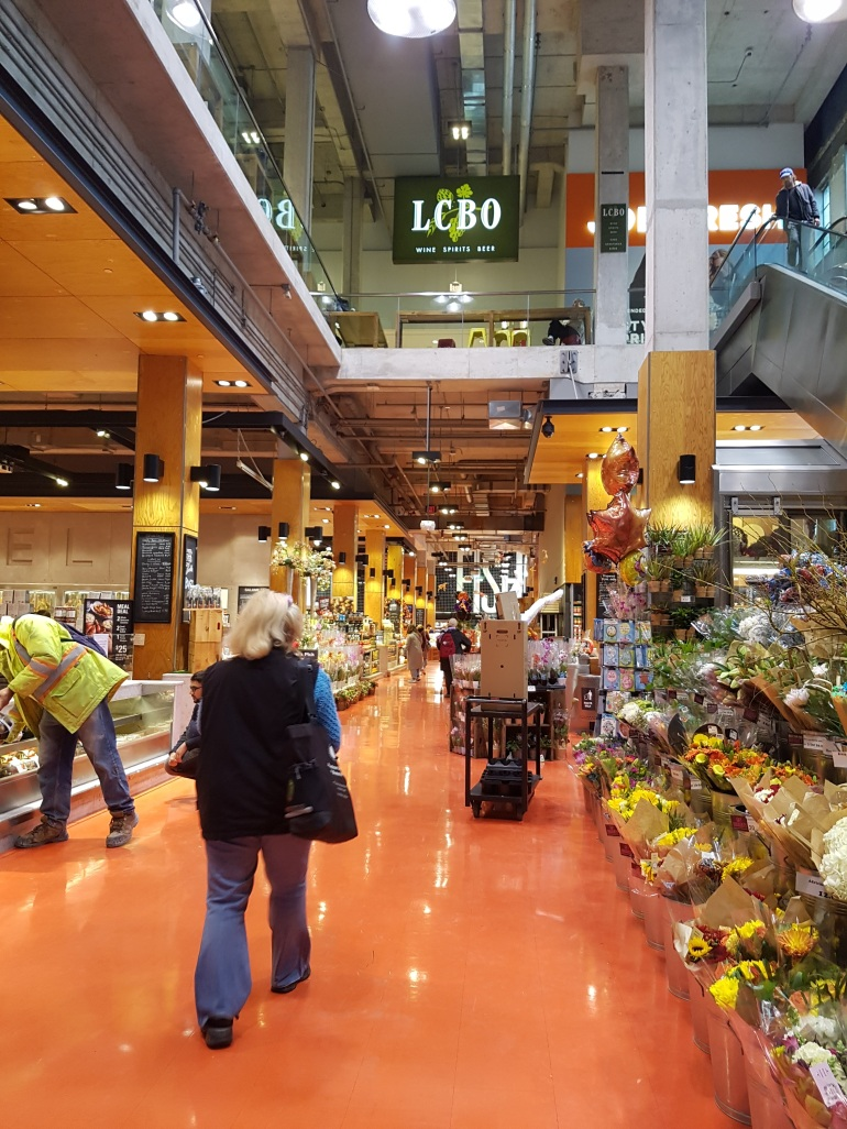 Loblaws - on the left is the butcher, on the right are some flowers then the sushi area.
