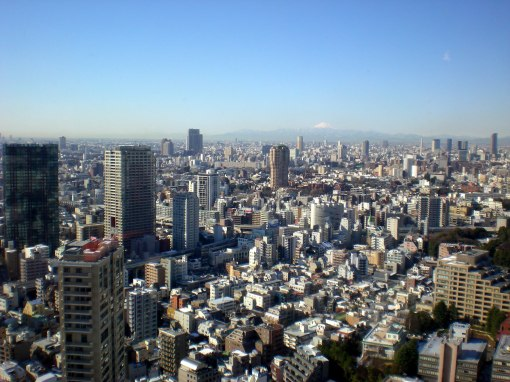 View from the Tokyo Tower (Mt Fuji is visible in the background)