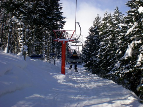 First ride up the chairlift - Niseko