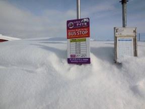 Bus stop sign almost buried - Kutchan, Hokkaido