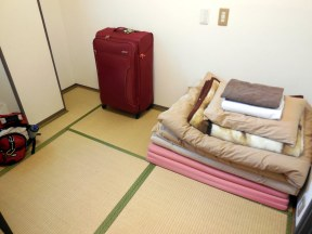 My (tiny) room at the hostel in Kyoto