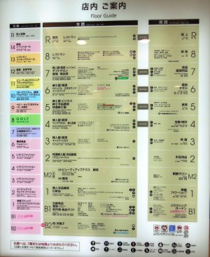 This is the floor guide for a posh department store (Daimaru). There were 15 levels! - Osaka