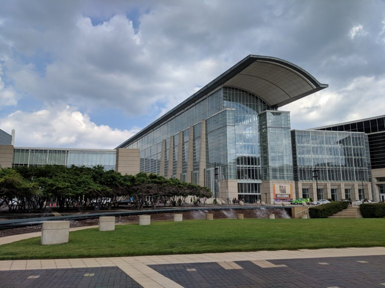 McCormick Place is the largest convention center in North America. It consists of four interconnected buildings and one indoor arena sited on and near the shore of Lake Michigan, about 2 mi south of downtown Chicago, Illinois, United States.