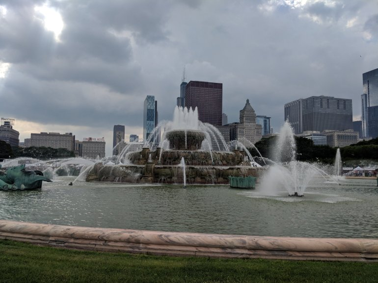 Buckingham Fountain, Chicago... look familiar? Check this out: https://www.youtube.com/watch?v=NrvsOhDSbWY