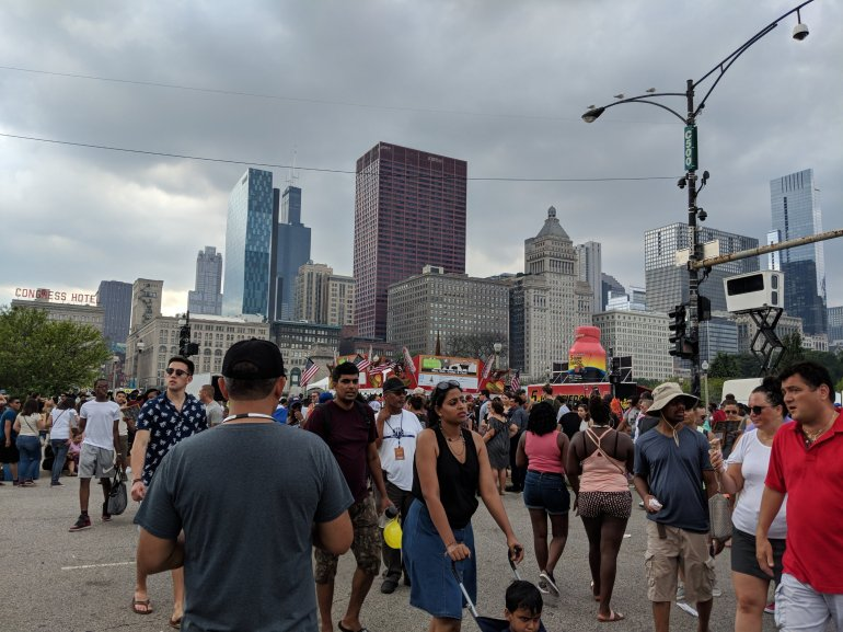 """The Taste of Chicago"" which is the world's largest food festival, held for five days in July in Chicago, Illinois in Grant Park. The event is the largest festival in Chicago."